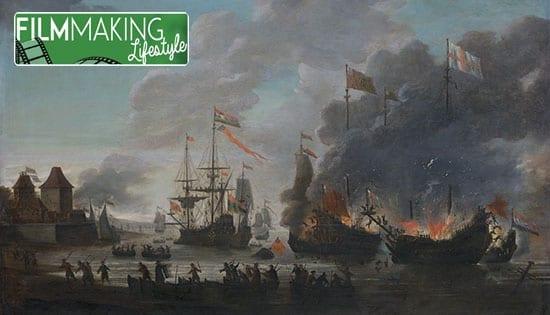 De Hollanders steken Engelse schepen in brand tijdens de tocht n